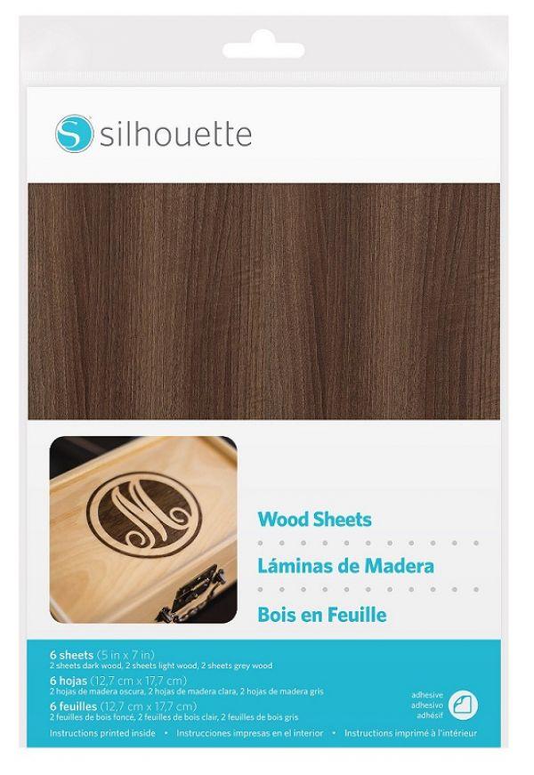 6 Fogli adesivi effetto legno per Stencil Silhouette 12,7 x 17,7 cm