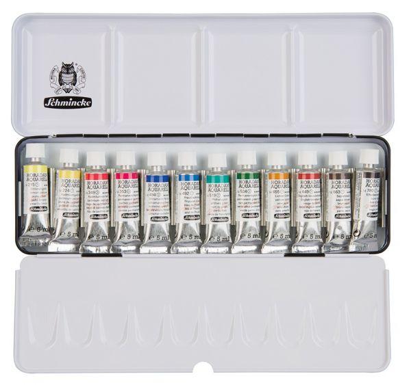 Acquerello HORADAM Schmincke - scatola da 12 colori - tubo 5 ml