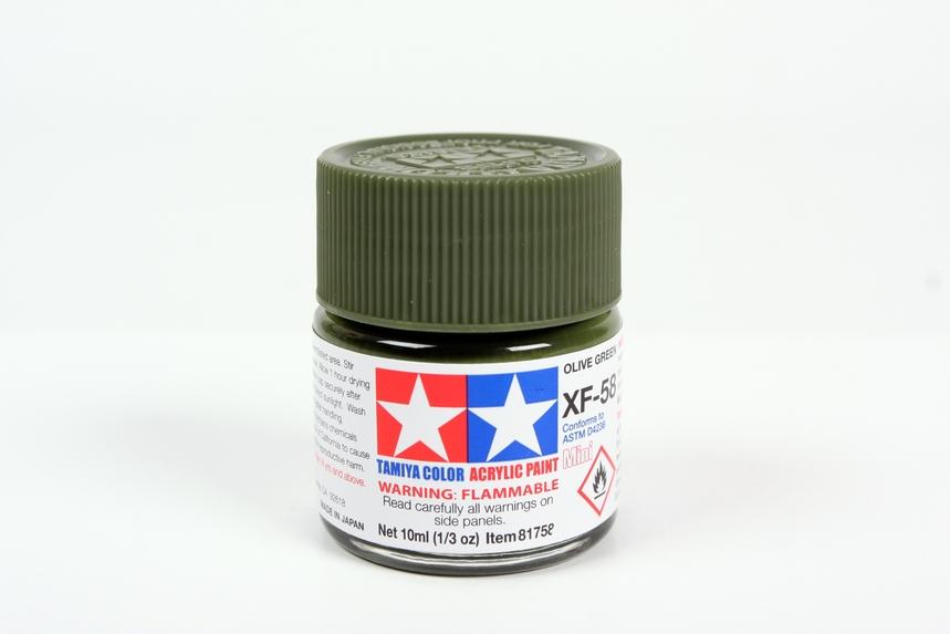 Vernice acrilica tamiya 81362 verde militare opaco codice colore xf62